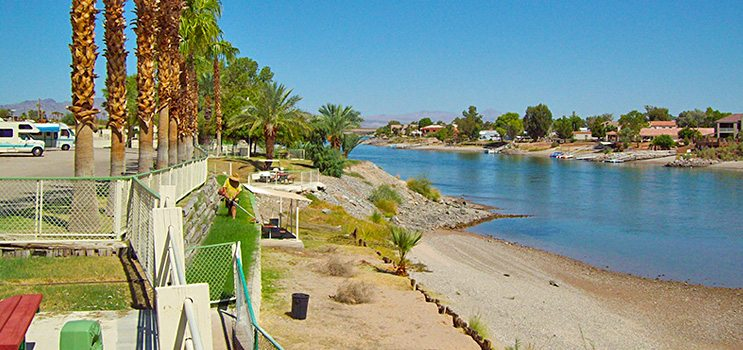 Beach at Northshore RV Resort in Needles California